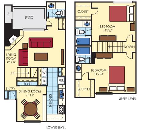 1,222 sq. ft. B4 floor plan