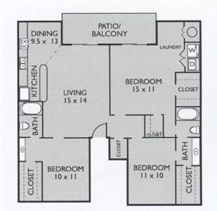 1,109 sq. ft. C1(South) floor plan
