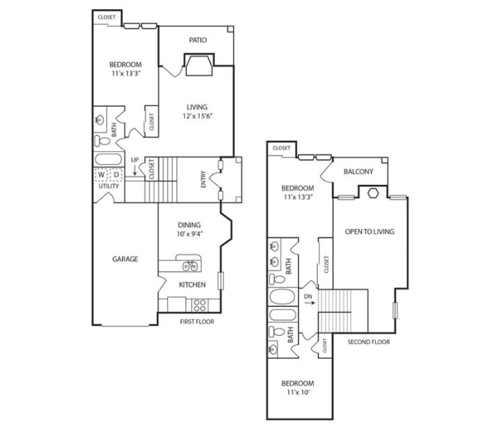 1,340 sq. ft. Fir floor plan