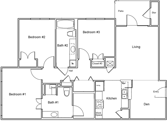 1,228 sq. ft. C1 ANSI floor plan