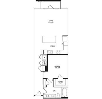 839 sq. ft. floor plan