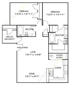 1,130 sq. ft. B5 floor plan