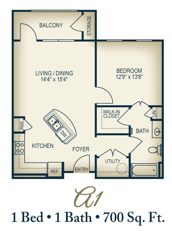 700 sq. ft. A1/50% floor plan