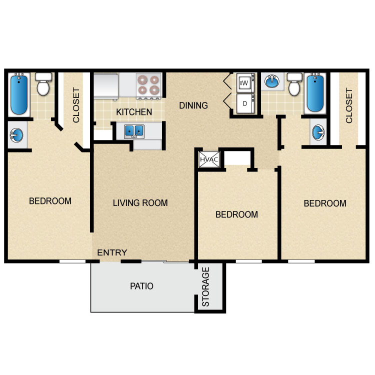 1,104 sq. ft. floor plan