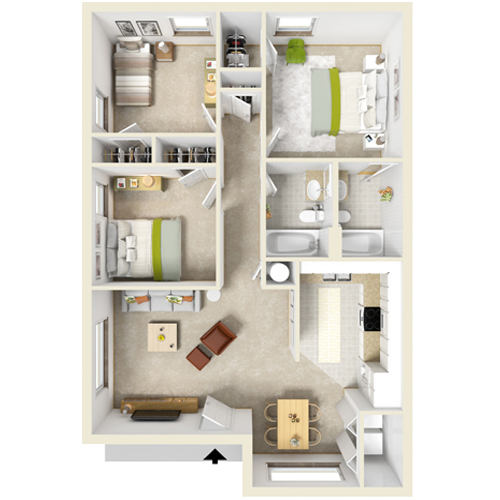 1,015 sq. ft. C-1 floor plan