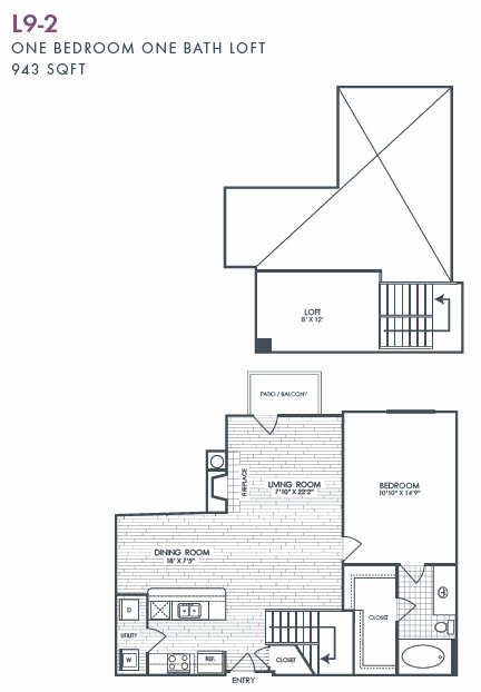 943 sq. ft. L9-2 floor plan
