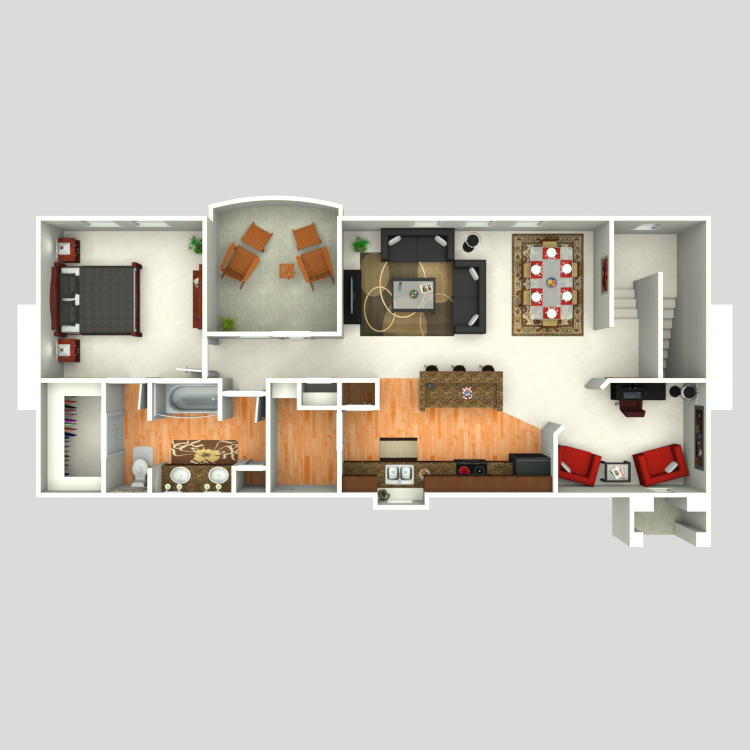 1,047 sq. ft. A6 floor plan