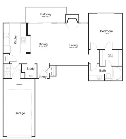 898 sq. ft. Pecos floor plan