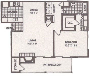 888 sq. ft. A2 floor plan