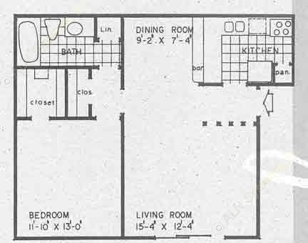 732 sq. ft. A1A floor plan