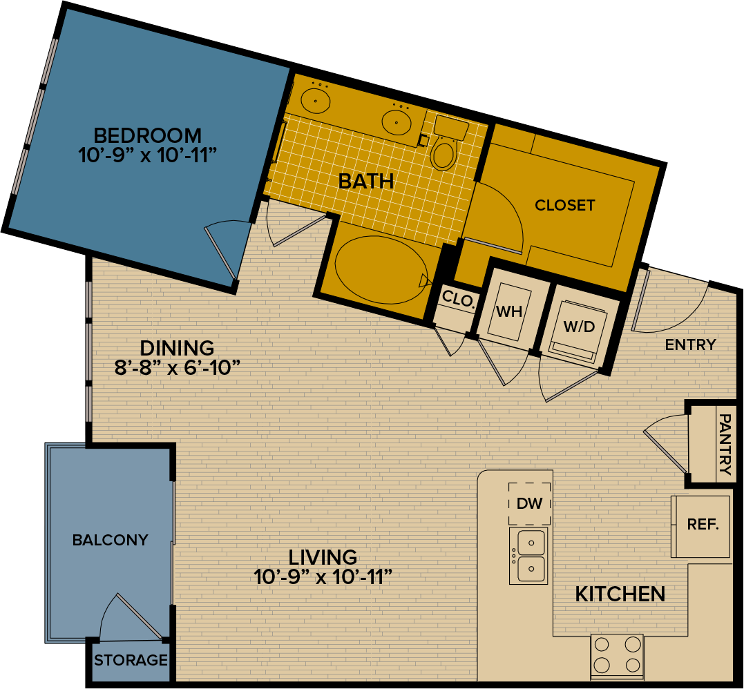 863 sq. ft. A11 floor plan