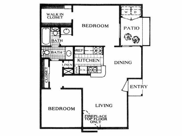 830 sq. ft. D3 floor plan