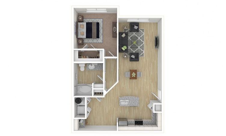 852 sq. ft. A3.2 floor plan