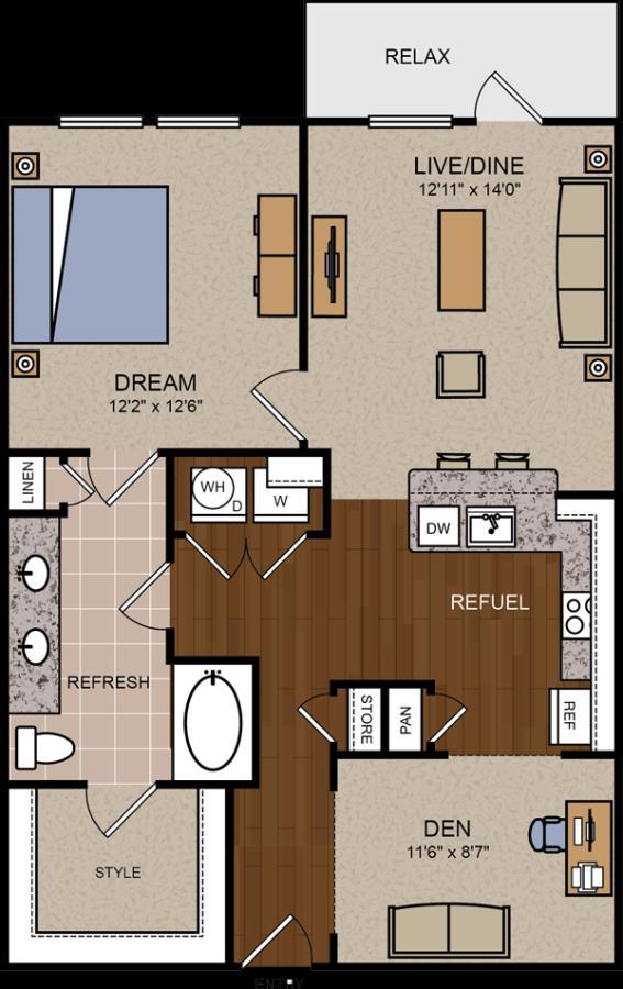 931 sq. ft. A4 floor plan