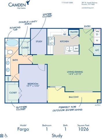 1,026 sq. ft. FARGO floor plan