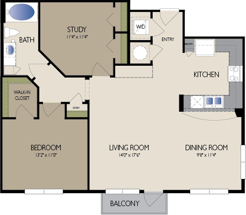 1,074 sq. ft. Singapore floor plan