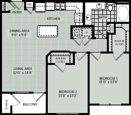 997 sq. ft. 2A floor plan