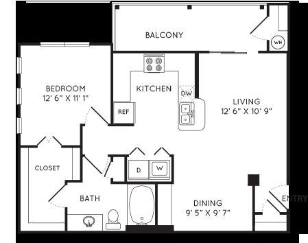 780 sq. ft. A2 floor plan