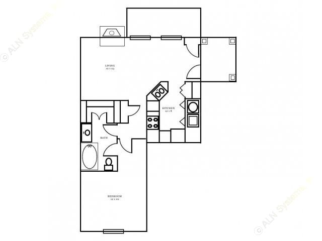 732 sq. ft. Windsor floor plan
