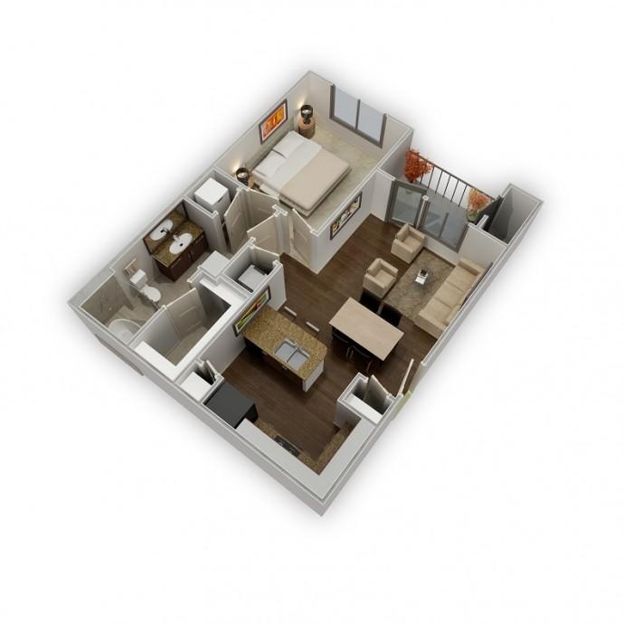 673 sq. ft. Reflection floor plan