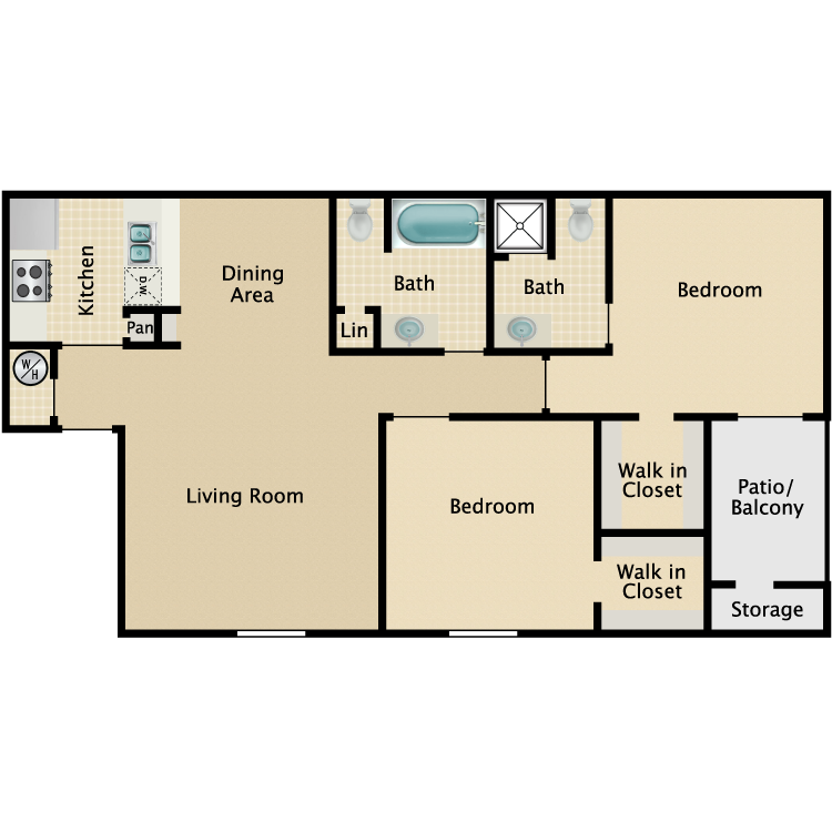 857 sq. ft. B1 floor plan
