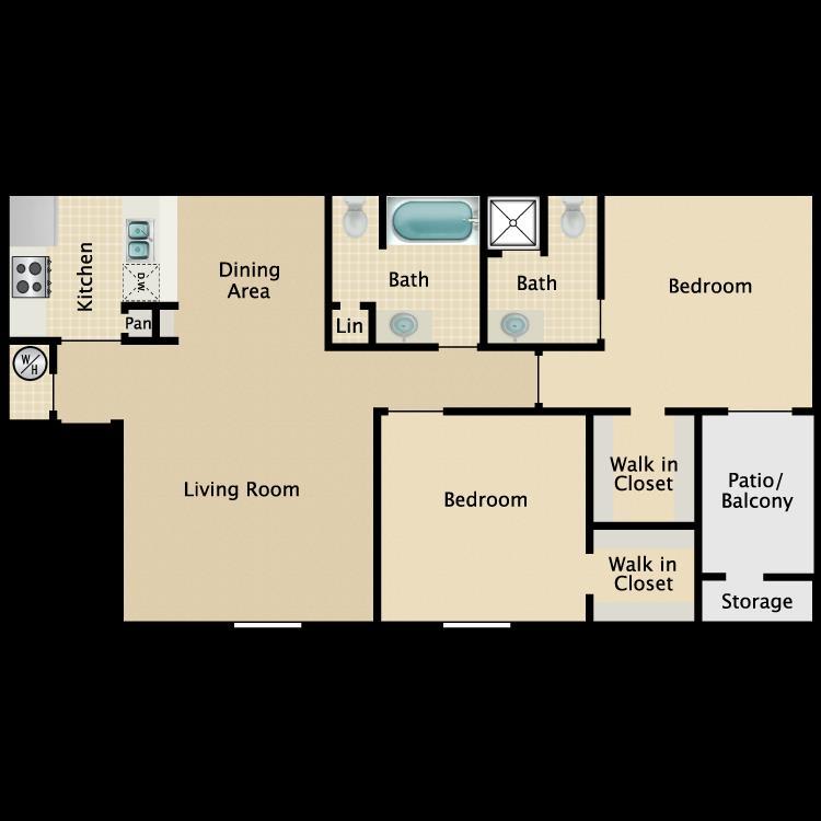 857 sq. ft. B1 floor plan