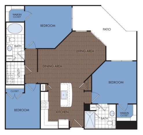 1,199 sq. ft. D2 floor plan
