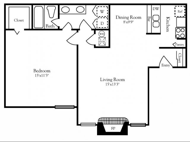 760 sq. ft. A2 floor plan