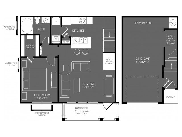 788 sq. ft. Glacier floor plan