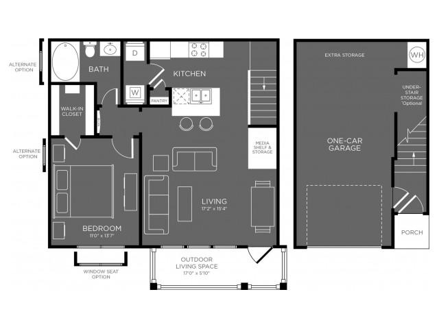 788 sq. ft. Glacier floor plan