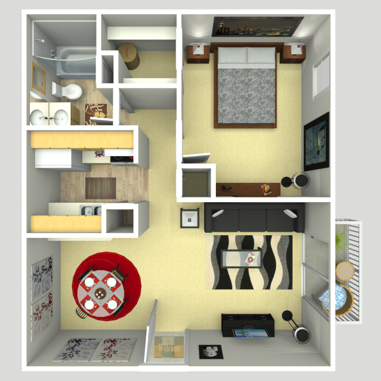 594 sq. ft. A-1A floor plan
