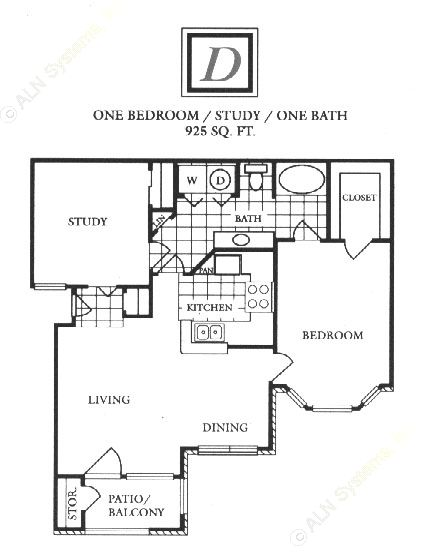 925 sq. ft. D floor plan