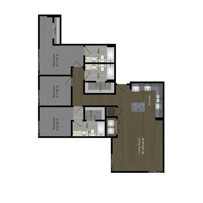 1,322 sq. ft. Auditorium Shores floor plan