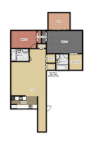 955 sq. ft. A floor plan