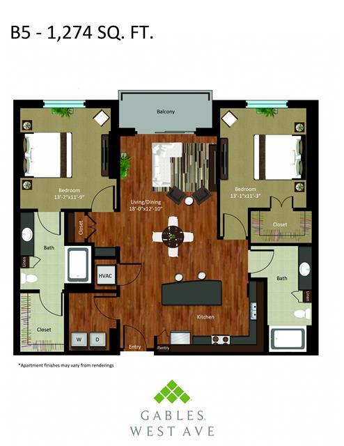 1,274 sq. ft. DB5 floor plan