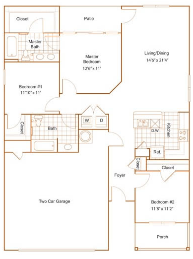 1,317 sq. ft. 60% floor plan