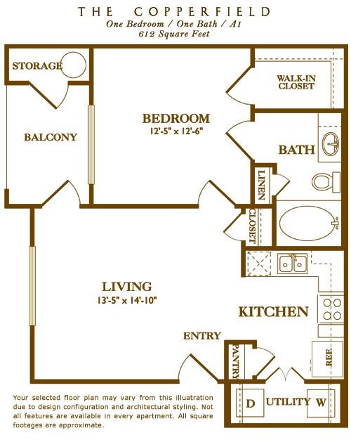 612 sq. ft. Copperfield floor plan