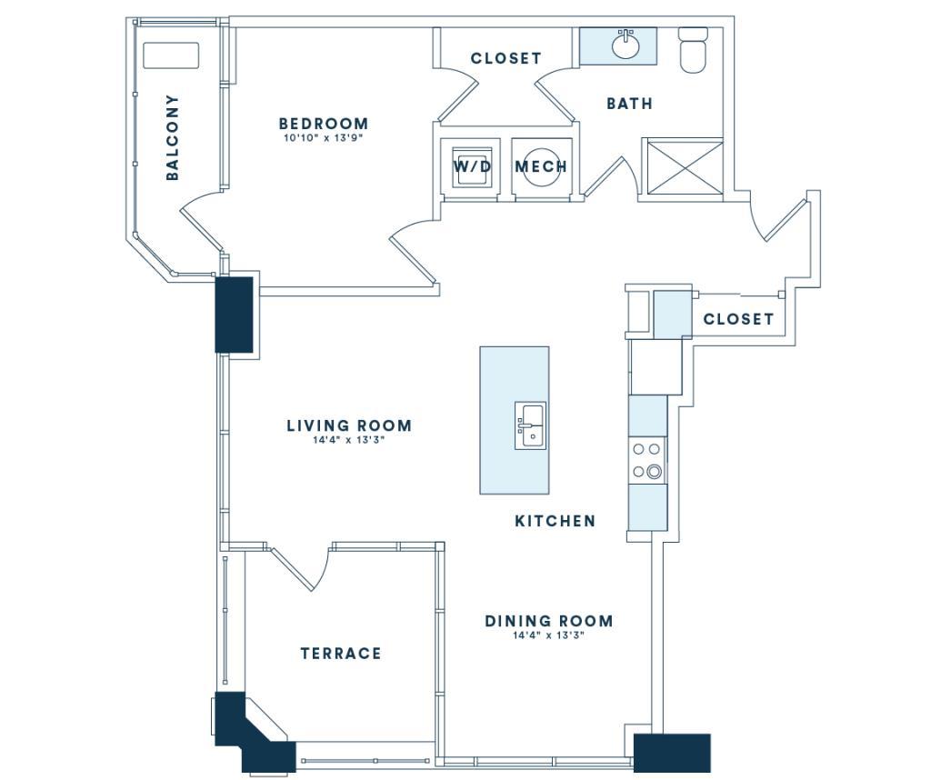 900 sq. ft. A9 floor plan