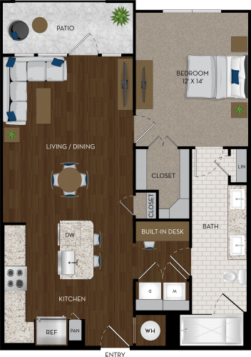848 sq. ft. A5 floor plan