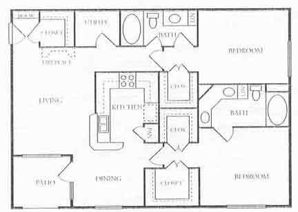 1,218 sq. ft. B5 floor plan