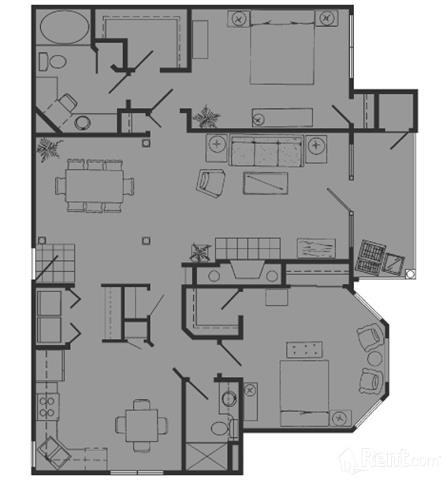 1,323 sq. ft. J floor plan