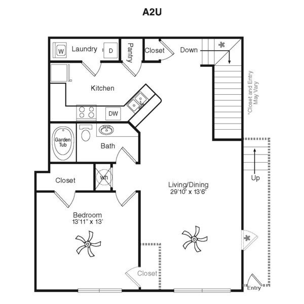997 sq. ft. A1D-1G floor plan