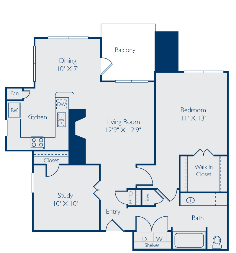 939 sq. ft. Lady Bird floor plan