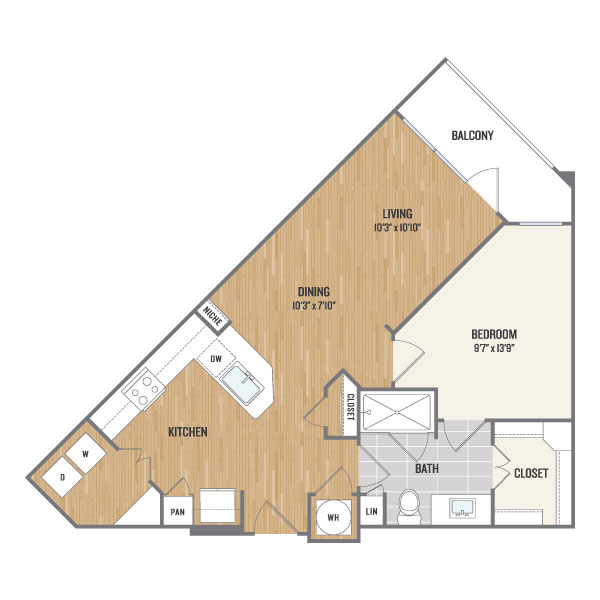 735 sq. ft. A6.1 floor plan