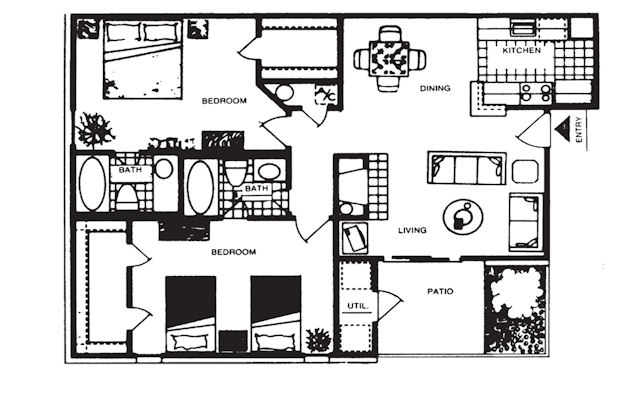 998 sq. ft. C floor plan