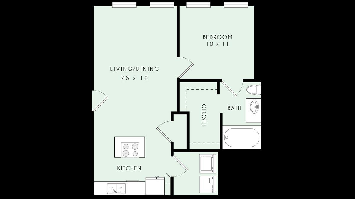 717 sq. ft. 80% floor plan