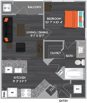 545 sq. ft. A1 floor plan