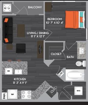 545 sq. ft. A1 floor plan