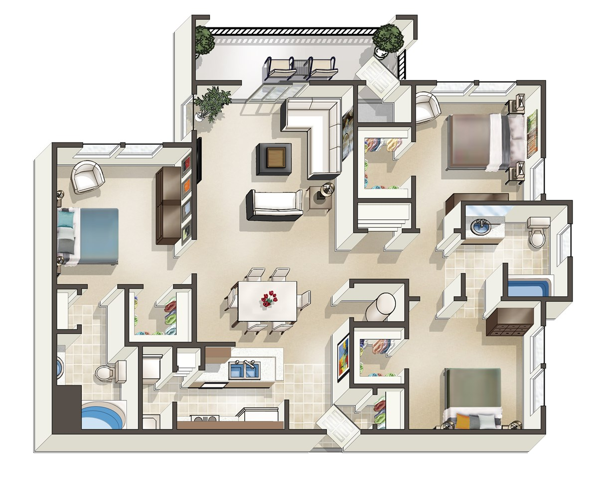 1,326 sq. ft. E floor plan