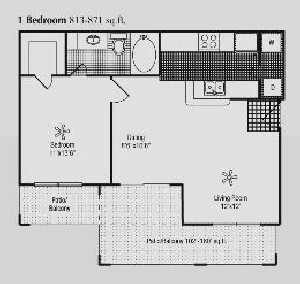 813 sq. ft. B floor plan